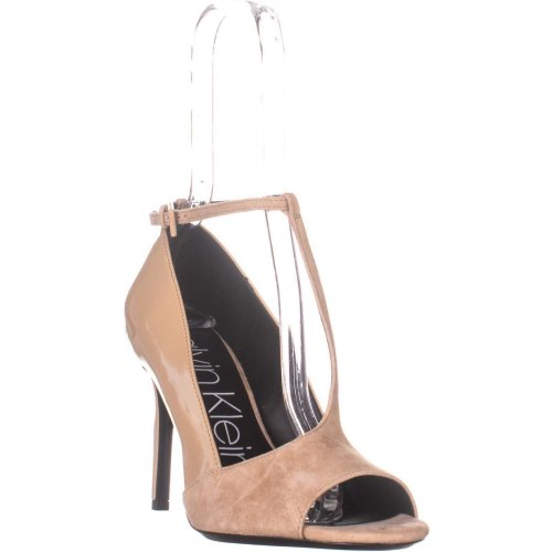 Calvin Klein Nicolette Peep Toe Heels, Desert Sand, 7 UK