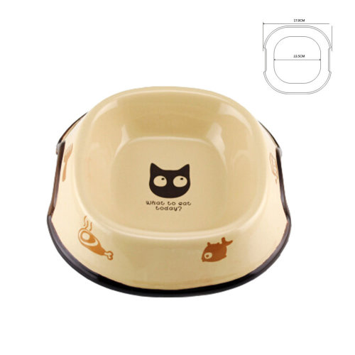 5-Inch Lovely Environmental protection Ceramic Cat Food Bowl ,Khaki(17*13.5cm)