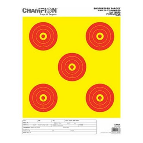 Champion Traps and Targets 45563 Shotkeeper 5Bulls Bright Y with Red Lg 12Pk