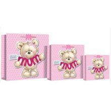 Best Mum Gift Bag Pink Love Hearts Teddy Bear Mothers Day Birthday Christmas