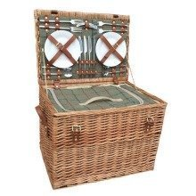 4 Person Green Tweed Chest Fitted Picnic Basket