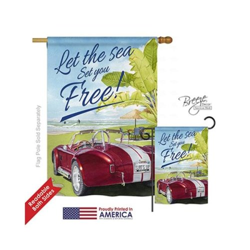 Breeze Decor 06078 Summer Set You Free 2-Sided Vertical Impression House Flag - 28 x 40 in.