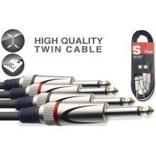 Stagg Stc Dual Mono Jack Cable (6m/20ft, Black) - Stc6p