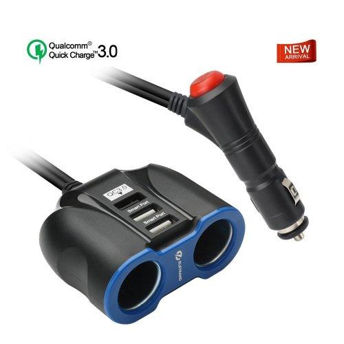 Cigarette Lighter Splitter Eletrand Two in One 12V/24V Multi-Function Car Power Splitter with 2 Car Socket Splitter and Quick Charge 3.0 Car...