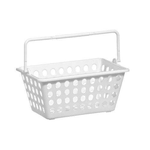 White Storage Basket With Single Handle, Plastic