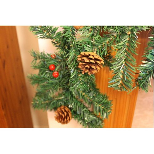Artificial Christmas Pine Garland With Berries And Cones - 200cm, Green