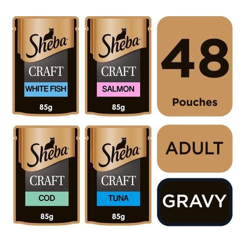 SHEBA Craft Cat Pouches Fish Selection in Gravy 12x85g (Pack of 4)