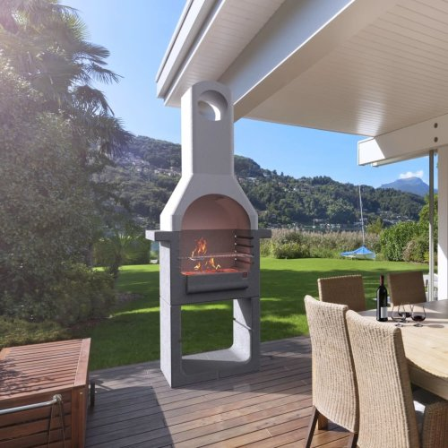 vidaXL Concrete Charcoal BBQ Stand with Chimney Outdoor Patio Barbecue Grill