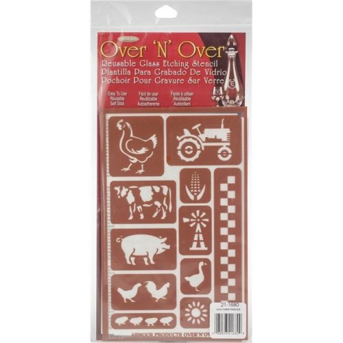 Armour Products GE21-1680 5 x 8 in. Over N Over Reusable Stencils - Farm Friends