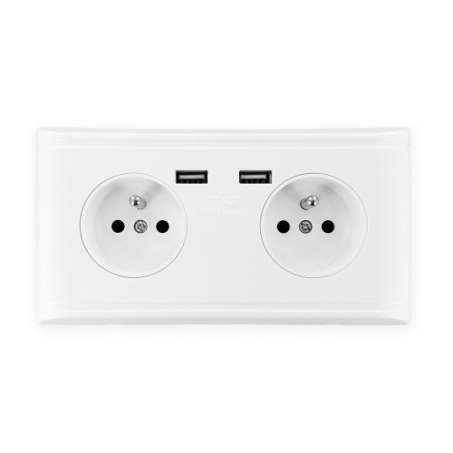 Pre-wired USB Wall Socket Dual 2.1A Type E