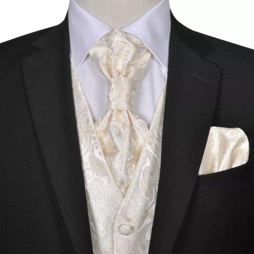 Men's Cream Paisley Wedding Party Prom Cruise Waistcoat &Tie Set Suit Size 48