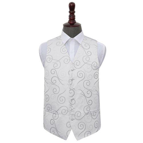 Silver Scroll Wedding Waistcoat 48'