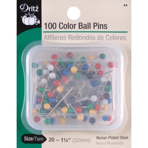 """Dritz Color Ball Pins 1-1/4"""" 100/Pkg-Size 20"""