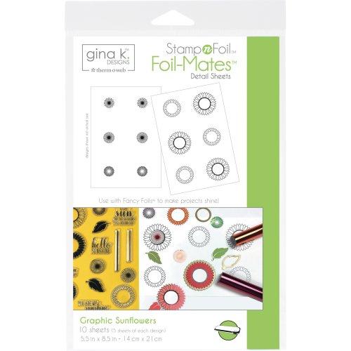 Gina K Designs StampnFoil Foil-Mates Detail Sheets 10/Pkg-Graphic Sunflowers
