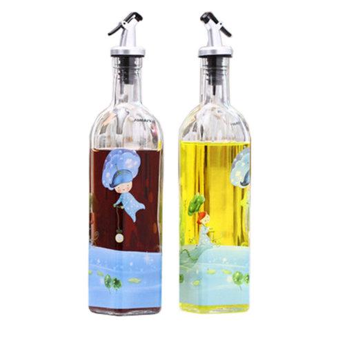 2PCS Beautiful Glass Vinegar Bottle Oil Container Cruet Oil Bottle, NO.1