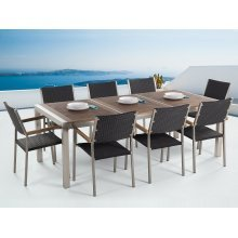 Garden Stainless Furniture - Wooden Table Top 220 cm in 3 pcs - 8 Wicker Chairs - GROSSETO