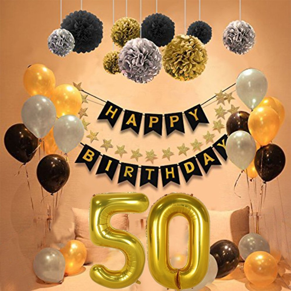 50th Birthday Party Decorations Kit Gold Number 50 Ballon 30pcs Black Silver And