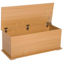 HOMCOM Wooden Storage Box Clothes Toy Chest Bench Seat Ottoman Bedding Blanket Trunk Container with Lid - Burlywood