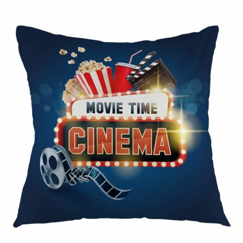 """Melyaxu Movie Time Throw Pillow Cover Square Cushion Case Home Decorative for Sofa Couch Car Bedroom Living Room Decor 18"""" x 18"""" inch Blue Red White"""