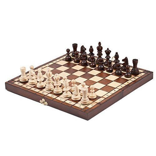 "10"" OLYMPIC Travel Wooden Chess Set 27cm"