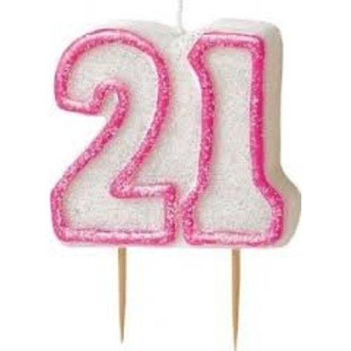 Age 21 Birthday Candle Pink Glitz