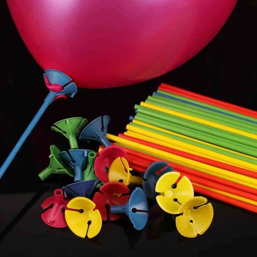 100 Pcs Blue Balloon Sticks With Multicolor Cups