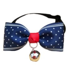 England Style Pet Collar Tie Adjustable Bowknot Cat Dog Collars with Bell-A16