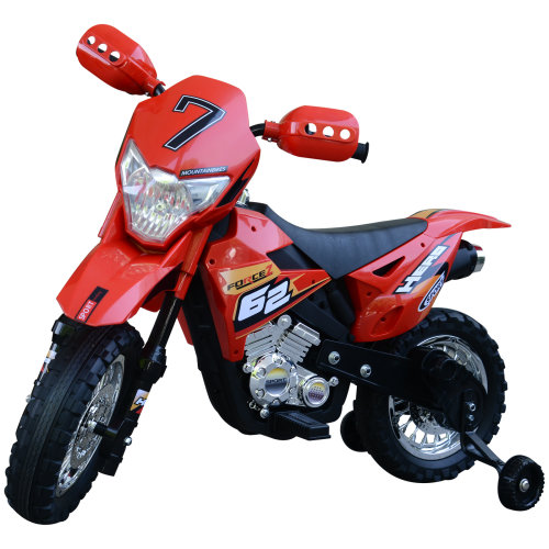 HOMCOM Motorbike Toy Ride On Car Electric w/ 6V Battery 4-Wheel Operated Red