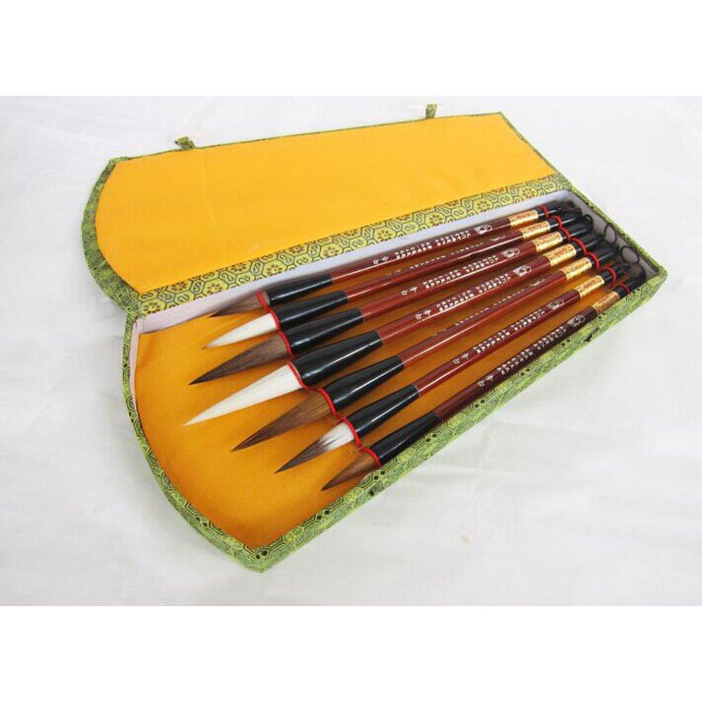 7 Pcs Professional Chinese Calligraphy Drawing Brush Set Wolf Hair