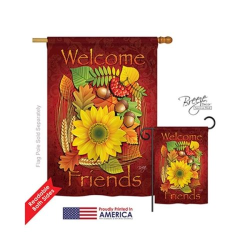 Breeze Decor 13040 Harvest & Autumn Welcome Friends Fall 2-Sided Vertical Impression House Flag - 28 x 40 in.