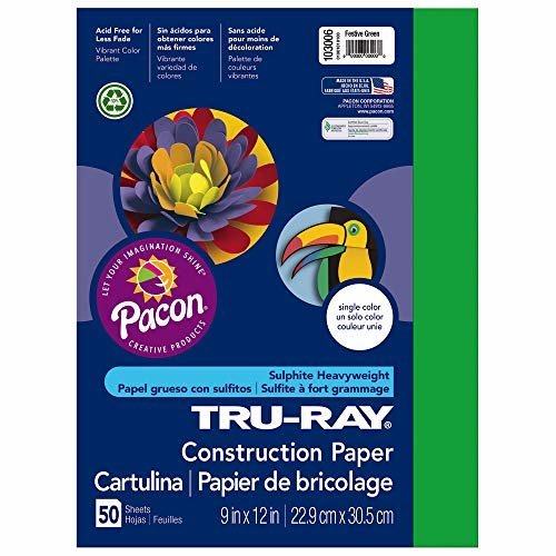Pacon Tru Ray Construction Paper 9 Inches by 12 Inches 50 Count Festive Green 103006