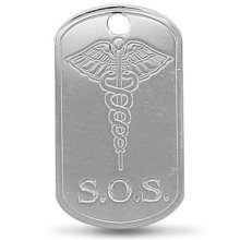 Childrens Sterling Silver Engraved Medicial Aware SOS Pendant On A Curb Necklace