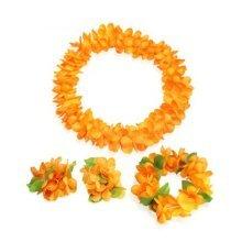 Hawaiian Hula Flower Lei Set Event Decoration Supplies Orange