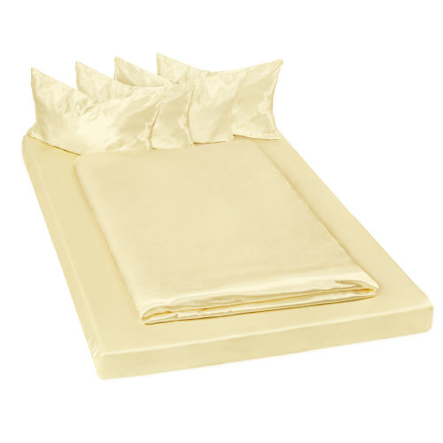 Satin sheets bedding set 200x150cm 6 PCs yellow