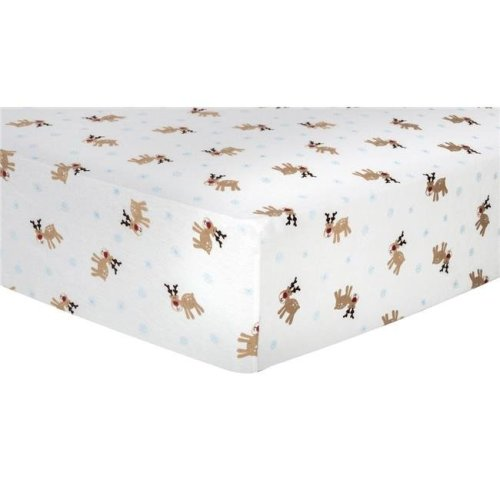 Trend Lab 101374 Reindeer Deluxe Flannel Fitted Crib Sheet