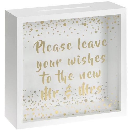 Mr & Mrs Wedding Wishes Box - White & Gold