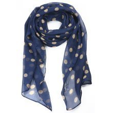 Trixes Ladies Cream Polka Dots on Navy Blue Fashionable Silk Scarf
