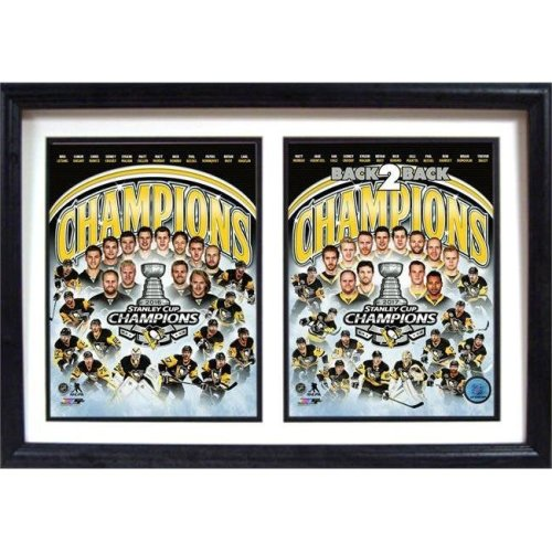 Encore Select 299-13 12 x 18 in. 2017 Back 2 Back Stanley Cup Champions, Pittsburgh Penguins - Double Frame