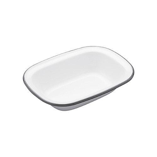 "KitchenCraft Living Nostalgia Oblong Enamel Pie Dish, 20 x 15 cm (8"" x 6"") - White / Grey"