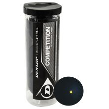 3 Dunlop Competition Squash Balls In Tube - Yellow -  dunlop competition squash balls 3 tube yellow