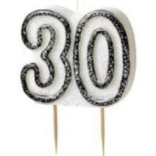Age 30 Birthday Candle Black Glitz