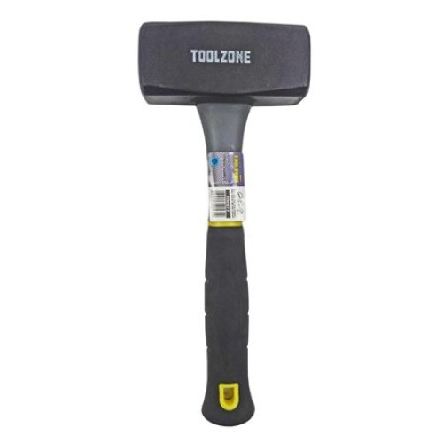Toolzone 2kg Fibre Handle Lump Hammer -  2kg lump hammer handle club steel head fibreglass shaft rubber grip tool new tzone tpr toolzone