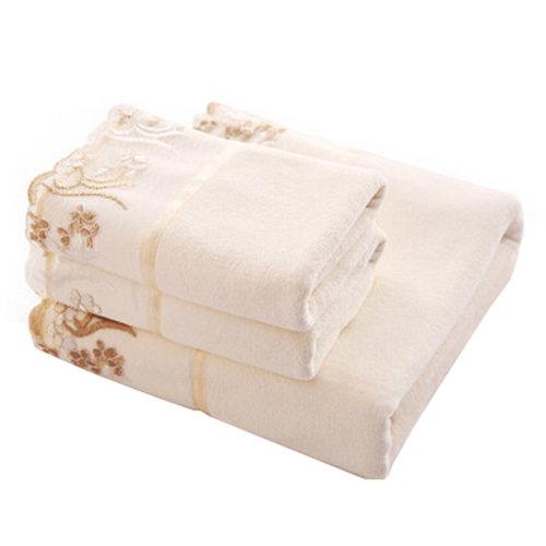 3 Piece Lace Luxury Hotel & Spa Bath Towel Bath Sheets Bath Towel Sets,White