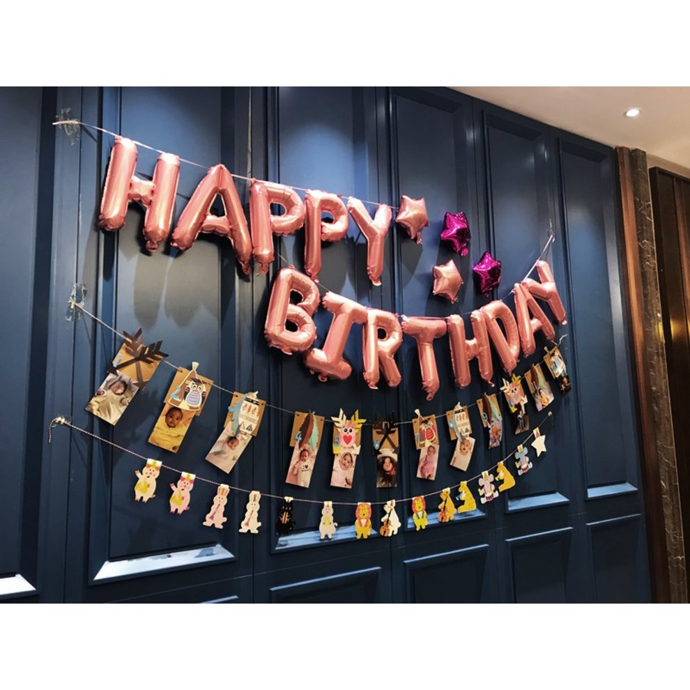 Funpa Happy Birthday Balloon Banner Letter Balloons Rose Gold For Decoration