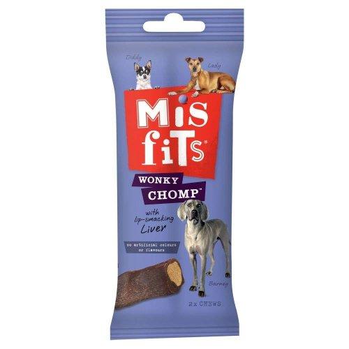 Misfits Liver Flavoured Wonky Chomp Medium Dog Treats (Pack Of 12)