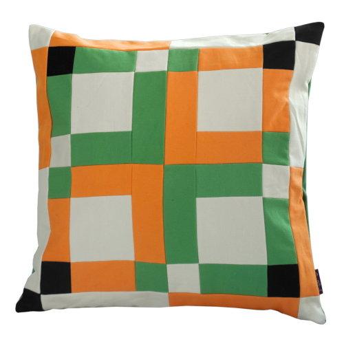 [Orange Orchard] Handmade Canvas Decorative Pillow Unique Grid Cushion 48cm