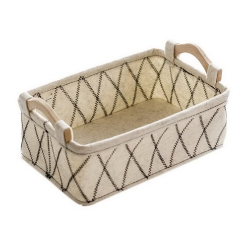 Rectangular Felt Storage Basket, Snacks Cosmetics Sundries Storage Basket, Beige