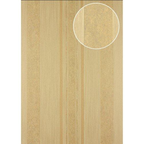 Atlas 24C-5059-7 Stripes wallpaper metallic highlights beige gold 7.035 sqm