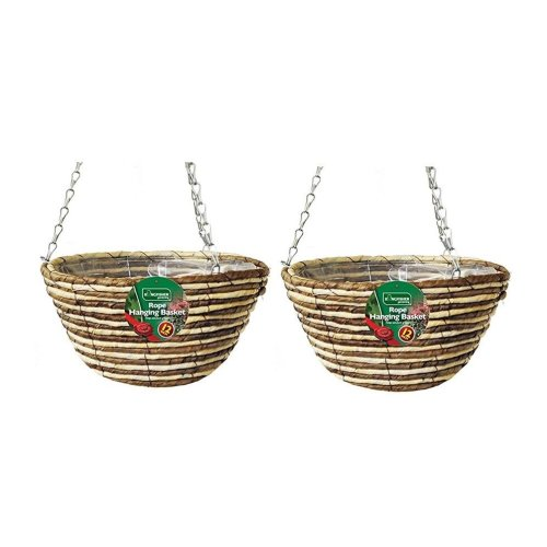 2 X Kingfisher Hb12Rr 12-Inch/30  cm Rope Hanging Basket - Beige