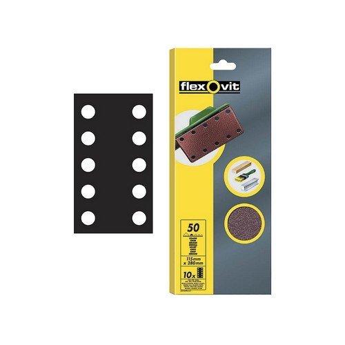 Flexovit 63642526500 1/2 Sanding Sheets 115 x 280mm Perforated Fine 120g Pack of 10